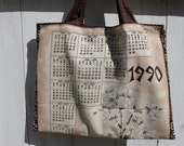 """Upcycled Vintage 1990 Calendar Tote, 16""""x12"""", vintage wall calendar, 1990 calendar, Asian florals, grocery tote, library tote bag, OOAK"""