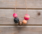 SHIPS TODAY Hand Painted Wooden Bead Necklace in Dragonfruit,  Anna Joyce, Portland, OR.