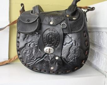 RARE Cowgirl Saddle Bag / Horse/ Stirrups / Saddle on top / Tooled leather / BLACK / Sherpa Lined
