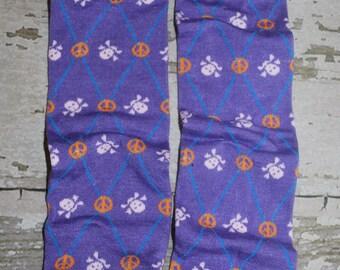 purple leg warmers, baby leg warmers skulls, peace sign leggings, girl leg wear, knee high, toddler legwarmers, baby girl socks, potty train