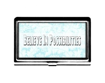 Inspirational Business Card Case Believe in Possibilities blue lace Credit Card Holder stainless steel metal card case