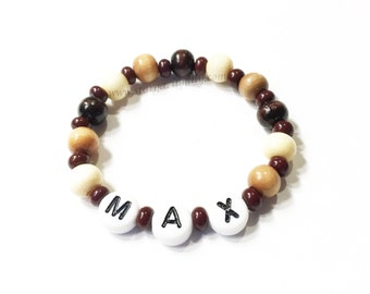 Wood Beaded Baby ID Personalized Name Bracelets for BOYS Newborn Multiple Twins Triplets ID Hospital Style id Bracelet