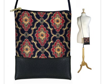 CLEARANCE Sling bag, mini crossbody bag, small shoulder bag purse, large cell phone case, tapestry bag black red teal gold RTS