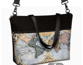 17 inch Laptop Bag with long cross body strap / Vintage Map Laptop Tote Bag / Old World Map Women's Briefcase / Pockets Zipper Blue  RTS
