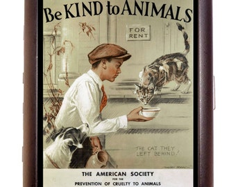 Be Kind To Animals Cigarette Case Business Card Holder Wallet  American Human Society 1932 Poster Art Kitty Cat Pet Lover Anti-Cruelty