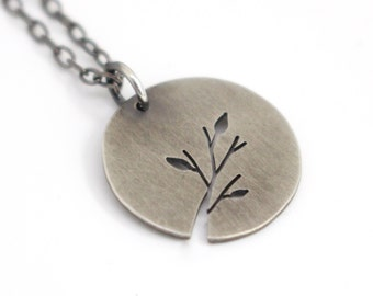 Tiny Leafy Branch Tree Art sterling silver pendant - ready for Fall - made to order
