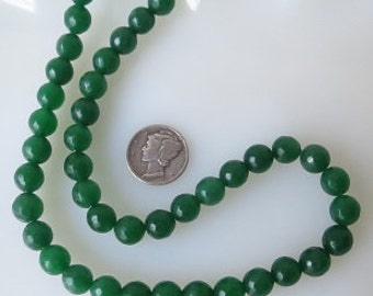 Green Jade Round Faceted 8mm Beads Half Strand