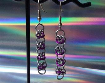Purple & Silver Chain maille Earrings