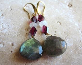 Labradorite Drop Earrings, Moonstone and Garnet, Faceted Briolette Earrings, Gold, Under 50, Gold,