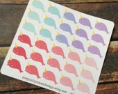 Narwhal Stickers for Erin Condren Plum Paper Happy Planner  (ID294)