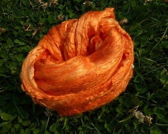 Tangerine Hand Dyed Mulberry Silk Top 4 Ounces