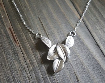 A Bundle of Silver Leaves and Sterling Silver Necklace