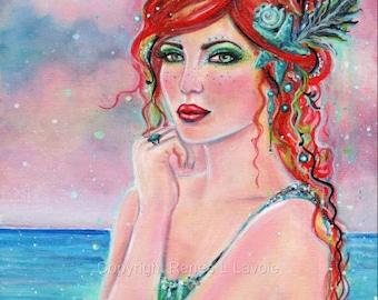 Aednat red head  Mermaid MRMD print   by Renee L. Lavoie