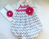 Boutique monogrammed Baby GOWN in Grey chevron with hot pink accents-- baby girls clothing.. one piece. new baby hospital outfit