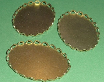 9 pcs. brass lace edge cabochon settings 30x22mm #f2035
