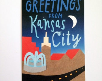 Greetings from Kansas City Postcard