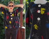 Brush STROKES 1980's Vintage Black Blouse with Abstract Sketch Designs // by BURLENE // size Large // Primary Colors