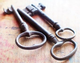 Rustic French Antique Skeleton Key Trio - Rare Cross Key 1800s // Fall Sale 20% OFF - Coupon Code FALL20