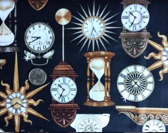 Black Clocks Timeless Clock Faces Steampunk Quilting Fabric 1 yard