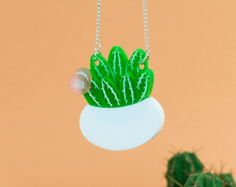 Cactus Necklace - Cacti Necklace - Cactus Gift - Laser Cut Necklace - Cactus Jewellery - Statement Necklace - Perspex Necklace