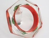 Orange faceted lucite bangle with real exotic beetles