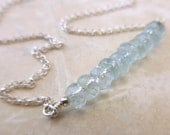 Faceted Aquamarine Rondelle Bar Necklace with Sterling Silver Rolo Chain