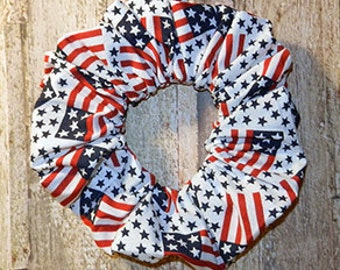 Patriotic Hair Scrunchie, Themed Ponytail Holder, Fabric Hair Tie, Patriotic Celebration