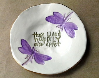 Ceramic Ring Dish  4 1/2 inches round edged in gold happily ever after