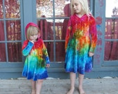 Velour Hooded Dress, Rainbow Dyed Dress, Hooded Rainbow Dress, Rainbow Velour Dress, Rainbow Tie Dye, MADE TO ORDER