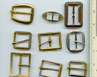 Lot of Vintage Metal Belt Buckles (9) pieces Brass Different Miscellaneous 1359