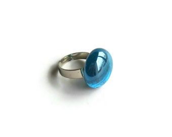 Solitaire Sky Blue Cocktail Ring, Adjustable Statement Ladies Blue Bold Ring, Glass Ring, Cute Ring, Turquoise Glass, Gifts for Her Under 10