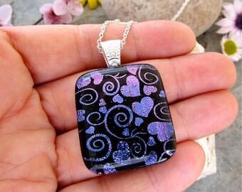 Purple Swirls & Hearts Dichroic Glass Pendant Necklace