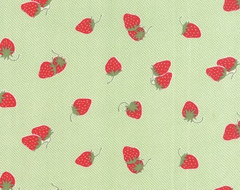 "22"" piece/remnant - Hello Darling - Strawberries in Green: sku 55114-15 cotton quilting fabric by Bonnie and Camille for Moda Fabrics"