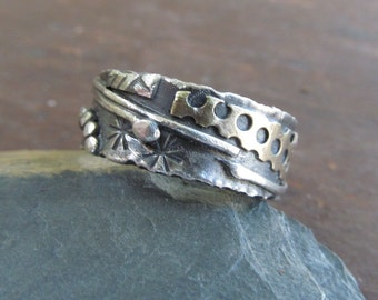 Silver Ring Funky Mixed Metal Ring silver Wedding Band Mens Womens Ring Boho Hippie RING Stamped Unisex Wedding Ring