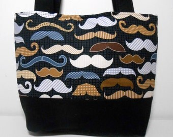 Mustache Purse in Black and Tan Medium Tote Bag with Pockets