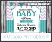 Teal Purple Chevron Baby Shower Invitation Cute Gender Neutral Theme Digital Printable Customized 5x7 White Turquoise Lavender Aqua Blue