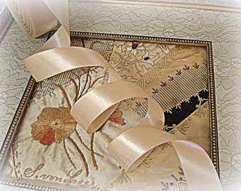 "vintage iced latte double faced woven edge satin ribbon 7/8"" wide x 3 yards long"