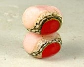 Pink and Red Glass Lampwork Bead Pair with Organic Cream and Black Web Small 11x7mm Rose Garden