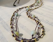 Gemstone Necklace Amazonite with Glass Cubes and Seed Beads