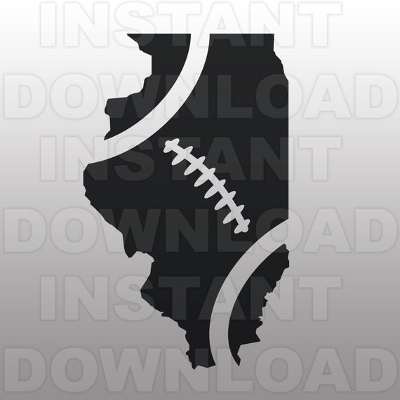 Football Illinois Outline Svg File Cutting Template Vector