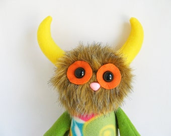 Monster Doll Stuffed Animal Plush Toy Kawaii Plushie Softie Orange Green Yellow Pink Brown Blue Colorful Snuggly Cuddly Cute Horns Huggable