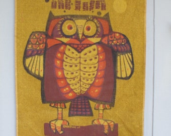 "David Weidman "" The Owl Hanging"" Print Wall Hanging Art on Burlap, 1965 Rare Mid century"