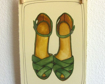 Art Illustration - Original Art - Original Painting - Fashion Illustration - Fashion Art - Shoe Art - Shoe Painting - Green Clogs
