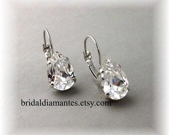 Diamante Bridal Earrings, Rhinestone Wedding Earrings, Formal Leverback Earrings, Clear Crystal Earrings, April Birthstone,