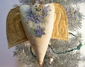 Snowman Angel Ornament Winter Primitive Rustic Folk Art Homespun Snowangel