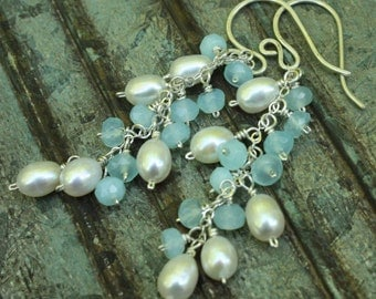 Blue Chalcedony, White Freshwater Pearls, Sterling Silver Cluster Earrings, Gemstone Cluster Earrings, Wire Wrapped Jewelry, SS Jewelry