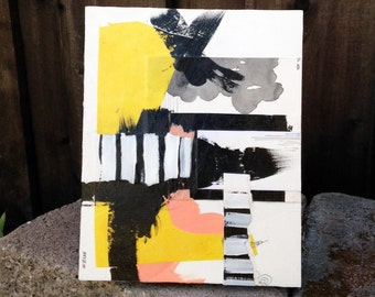 Set of Four Original Paintings, modern art, modern spaces, mixed media, acrylic painting, abstract landscape, black and white