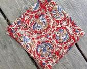 "Napkins, Cloth napkins, 14"" cloth napkins, handmade, indian print, all cotton,  set of four"