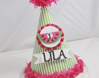 Watermelon Party Hat- Girl 1st Birthday- Personalized