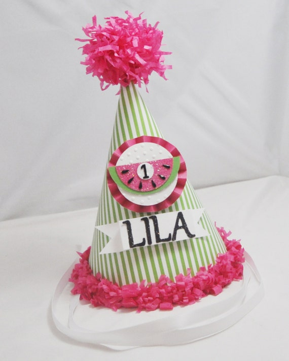 Watermelon Party Hat Girl 1st Birthday Personalized